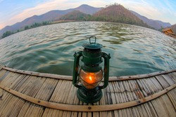 Floating raft house in Hoob Khao Wong reservoir Which is a reservoir in valley and popular attraction of Suphan Buri, Thailand.