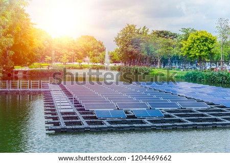 Floating solar panels or solar cell Platform on the water lake pond for saving energy technology innovation.