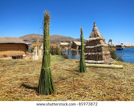 Floating Uro Islands on Lake Titicaca, near Puno, Peru