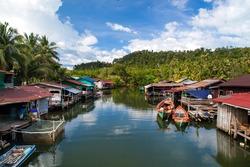 Floating village, Cambodia, Tonle Sap, Koh Rong island. Floating houses.