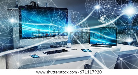 Floating white and blue glowing dot network on desktop interior 3D rendering