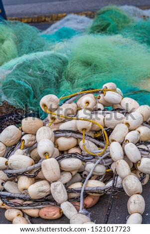 Floats and Netting at a commercial fishermans shed