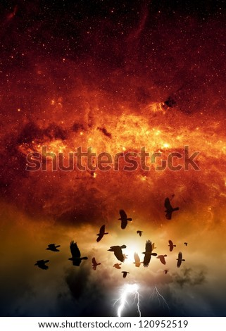 Flock of flying ravens, crows in dark sky, bright lightning, red galaxy, end of world.  Elements of this image furnished by NASA/JPL-Caltech