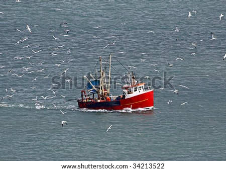 stock photo : Flock of seagulls surrounding fishing trawler boat in ocean.
