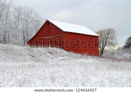Flocked -- A historic red barn sits on top of a hill after a fresh snowfall in Pentwater, Michigan.