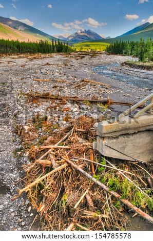 Flood Damage on a mountain stream Kananaskis Country Alberta Canada, 2013