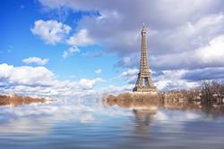 Flood illustration of the river Seine, Eiffel tower, Paris, France