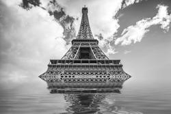 Flood illustration with Eiffel tower, Paris France