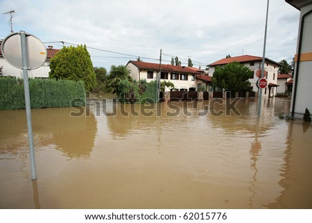 Flood in Miren - Slovenia, Europe