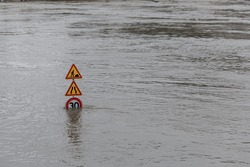 Flood in Paris. The swollen Seine river in France. June 2016.