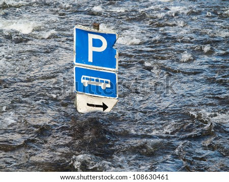 flood river and bus parking