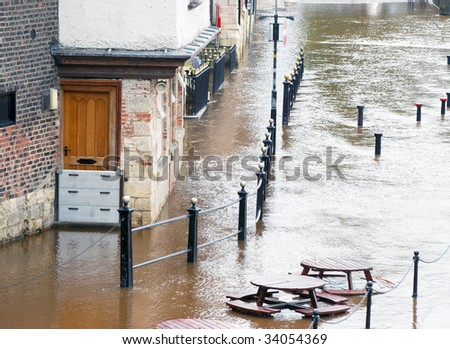Flood water from River Ouse surround riverside pub in York