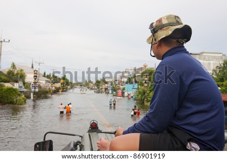 flood waters in Ayuthaya, Thailand