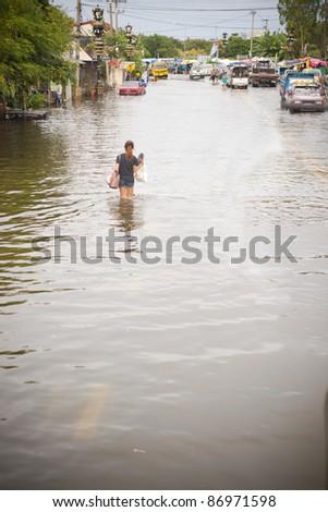 flood waters in Ayuthaya, Thailand