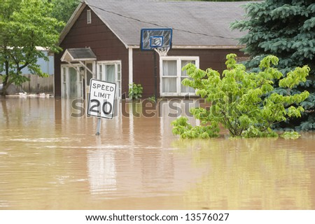flood waters overtake a town in Indiana