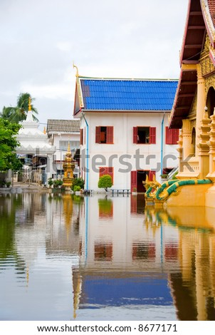 flooded buddhist temple - stock photo