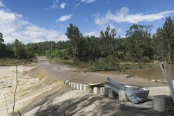 Flooded creek Queensland March 2017 from ex tropical cyclone Debbie