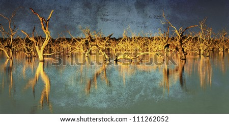 Flooded dead trees in a lake at sunset, with grunge effects.  Menindee, New South Wales, Australia.