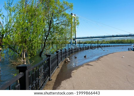 Flooded embankment boulevard with benches and floating ducks. Part of a dry and flooded boulevard. Foto stock ©