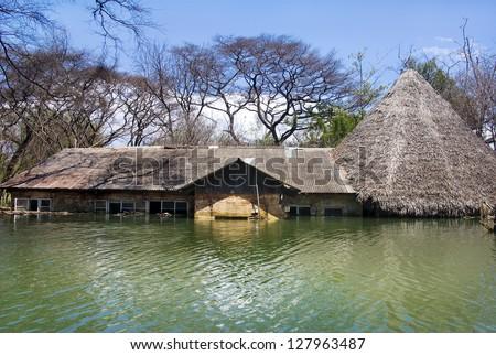 flooded house at Lake Baringo, Kenya