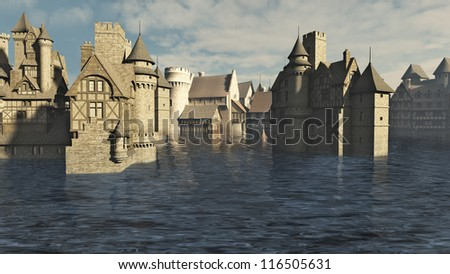 Flooded Medieval town, 3d digitally rendered illustration
