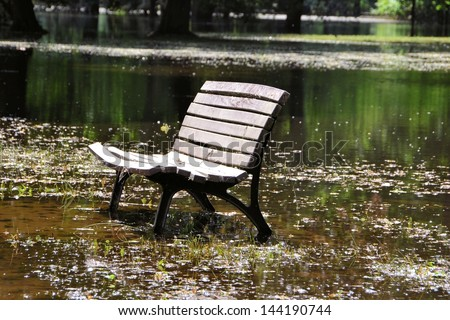 flooded park with a bench while flooding in Magdeburg