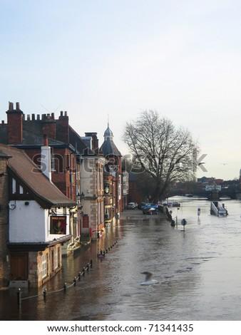 Flooded river, York, England.