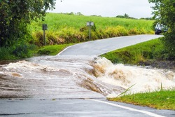 flooded road by an overflowing river, natural disaster