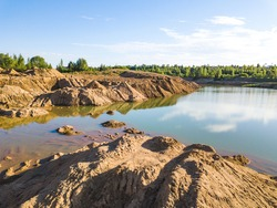 Flooded sand pit near Sychevo Volokolamsk district of Moscow region. Russia
