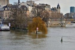 Flooded Seine River in Paris, February 13, 2021