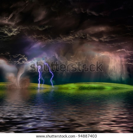 Flooded stormy landscape