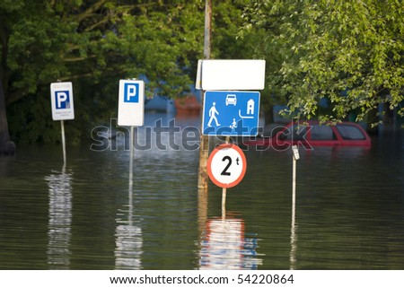 Flooded street in the city