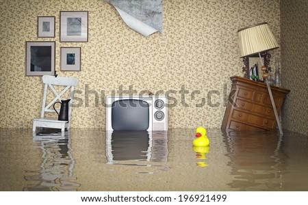 flooded vintage interior. 3d...