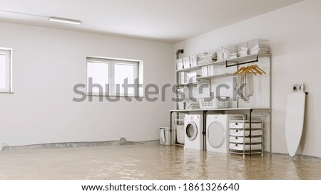 Flooding after water damage in the laundry room with mold on the wall (3D Rendering)