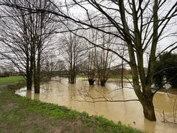 Flooding at Clipstone Brook in Leighton Buzzard, Bedfordshire
