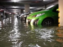 flooding car in  basement carpark at condominium ,Bangkok,Thailand