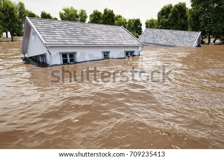 flooding houses with rising water. 3d rendering