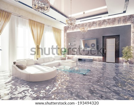 flooding in luxurious interior 3D creative concept