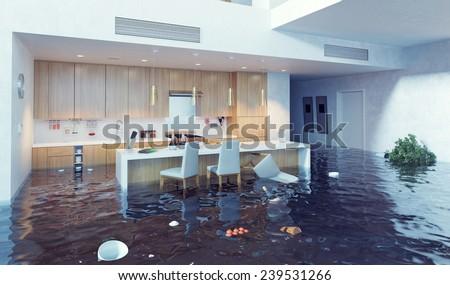 flooding in luxurious kitchen interior. 3d creative illustration