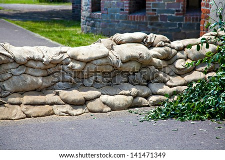 Flooding in Magdeburg, Germany, June 2013. Sandbags protect against the water