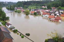 Flooding river Luznice, Czech Republic, village - Bechyne