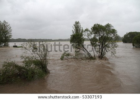 Flooding rivers in north-east of Czech republic. Name of the village - Detmarovice.