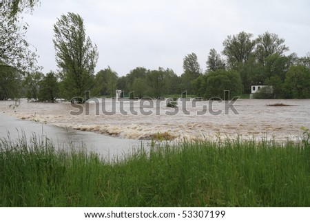 Flooding rivers in north-east of Czech republic. Name of the village - Detmarovice. #53307199