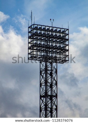 Floodlight pylons in a football stadium in Lithuania #1128376076