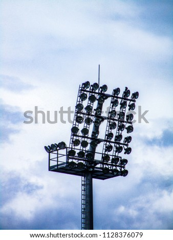 Floodlight pylons in a football stadium in Lithuania #1128376079