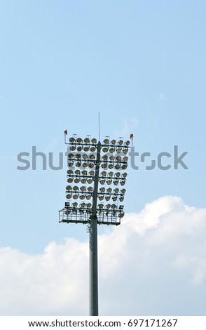 Floodlights at an old Eastern European football (soccer) stadium #697171267