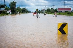 Floods have flooded a street,Flooded street after heavy rain.