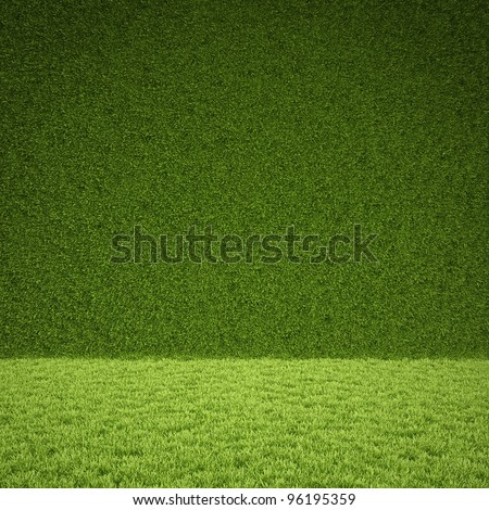 floor and wall of green grass.
