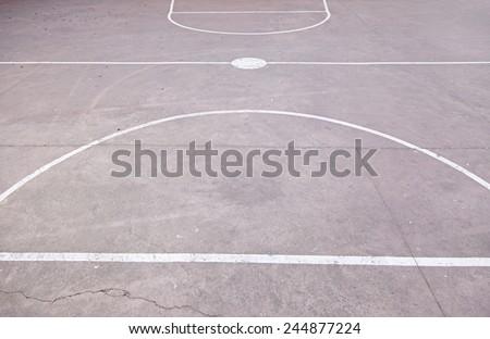 Floor basketball court, detail concrete floor, outdoor play, sport