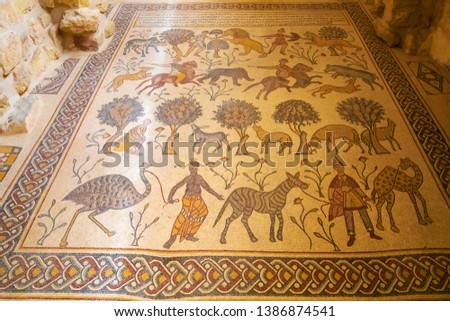 Floor covered by ancient mosaics of Mount Nebo, Jordan  #1386874541